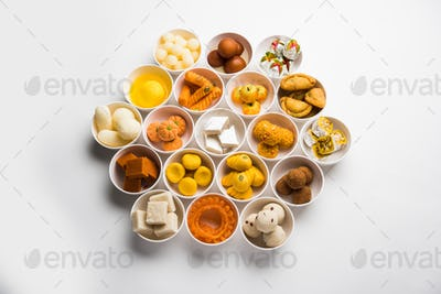Rangoli design of Assorted Indian sweets