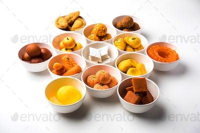 Rangoli design of Assorted Indian sweets