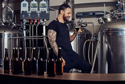 Portrait of a stylish bearded man standing behind the counter in the brewery