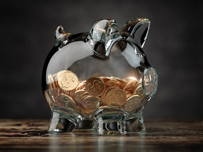 Piggy bank with golden coins. Financial investment, savings and family budget concept background.