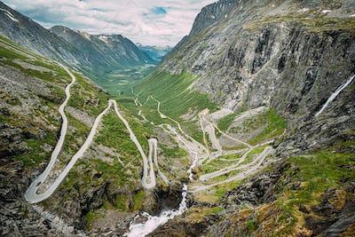 Trollstigen, Andalsnes, Norway. Serpentine Mountain Road Trollstigen. Famous Norwegian Landmark And