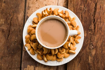 Cashew shaped biscuits with tea