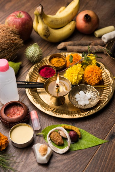 Pooja elements for worshipping Hindu God