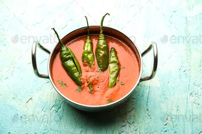 Hyderabadi mirch or mirchi Salan or green chilly sabzi