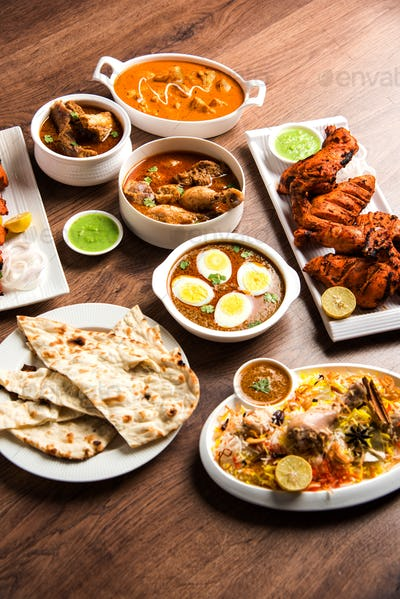 Group of assorted Indian Non Vegetarian food recipes
