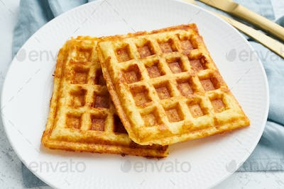 Chaffle, ketogenic diet health food. Homemade keto waffles with egg