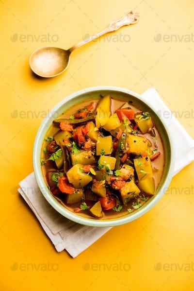 Indian style Lauki or doodhi ki Sabji also known as bottle gourd curry