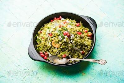 Indian food Hariyali Poha or Green Masala Pohe or flattened rice