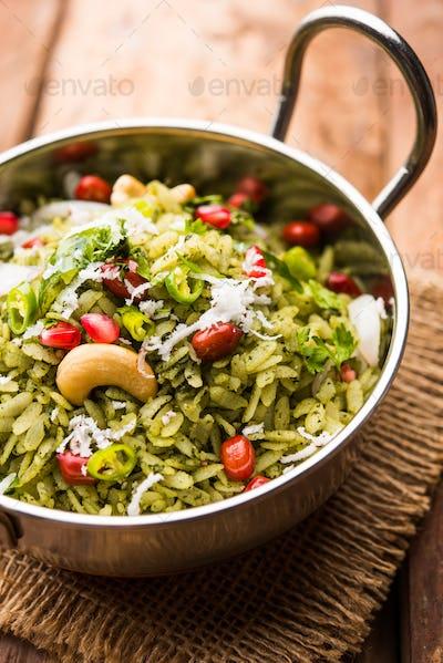 Indian food Hariyali Poha or Green Masala Pohe