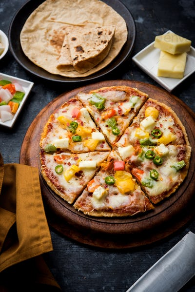 Indian Chapati Pizza made using leftover Roti or Paratha