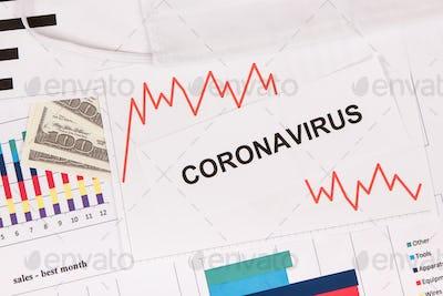 Inscription coronavirus, dollars and downward graphs