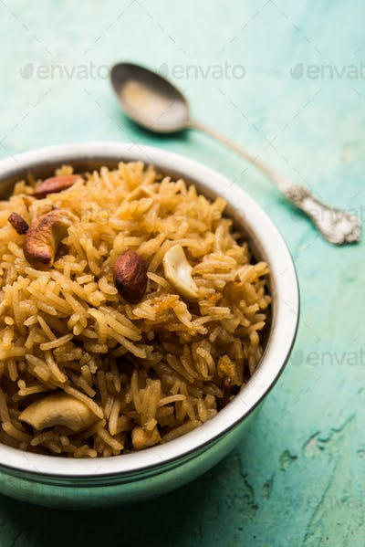 Traditional Jaggery Rice or Gur wale chawal