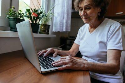 Focused elderly woman working on notebook.