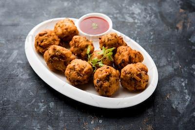 Semolina Fritters or rava Bhajj or suji Pakoda , Indian snack