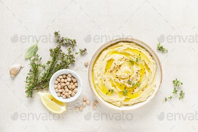 Hummus, mashed chickpeas with lemon, spices and herbs