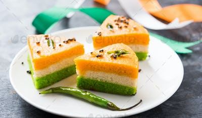Three Coloured Dhokla snack for Indian National day celebration