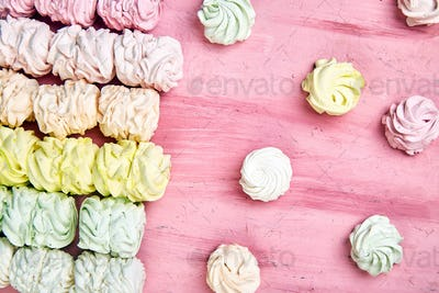 Sweet homemade marshmallow, background from multicolor pastel zephyr