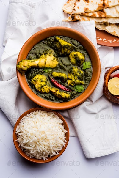 Palak or spinach Chicken or Murg Saagwala is an Indian non-vegetarian recipe