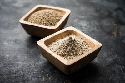 Healthy pearl millet grains with flour or powder, also known as Bajra in India