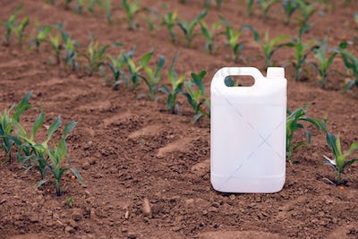 Corn pesticide canister in field, mock up image