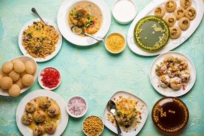 Indian road side chat food in group