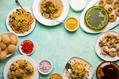 Variety of Indian Chat food