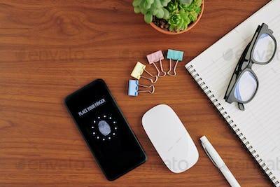 Locked smartphone on desk