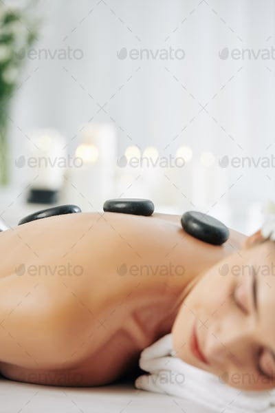 Relaxing hot stones massage