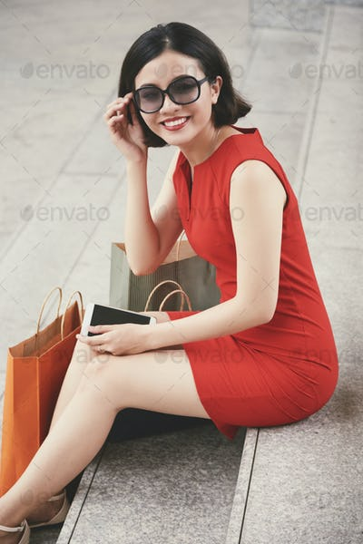 Beautiful woman after shopping