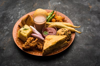 Group of Indian Tea time snacks