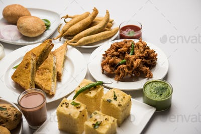 Indian Tea time snacks in group