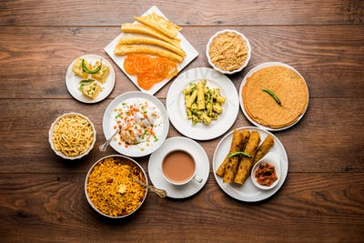 Group of Gujarati snacks food from India