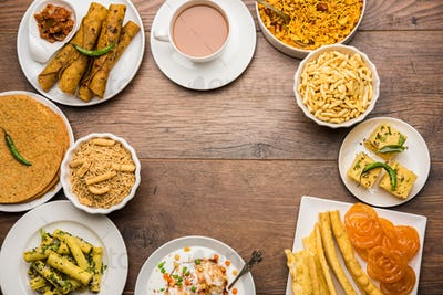 Group of Gujarati snack food