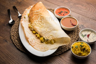 Cheese masala dosa is a South Indian food