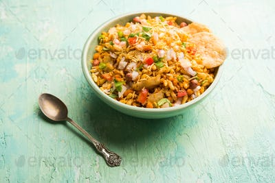 Bhelpuri chat or chaat is a savoury snack, originating from  India