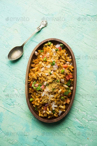 Bhelpuri is a savoury snack, originating from the Indian subcontinent