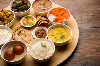 Indian vegetarian food platter or Thali