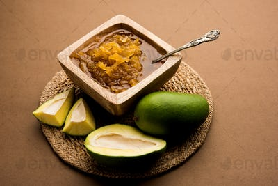 Raw mango sweet pickle from India