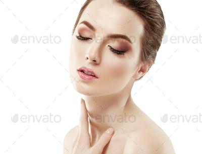 Skin care woman clean fresh beauty skin face natural beauty fashion make up
