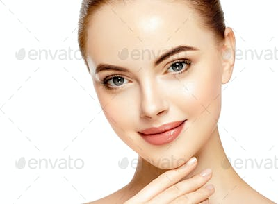 Close up face woman beautiful eyes lips healthy clean skin