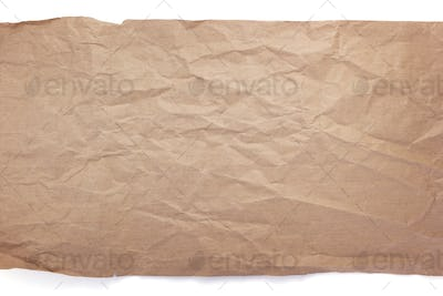 wrinkled or crumpled paper  on white background