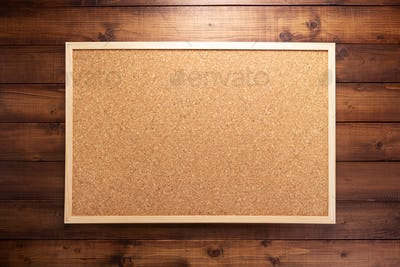cork board on wooden background