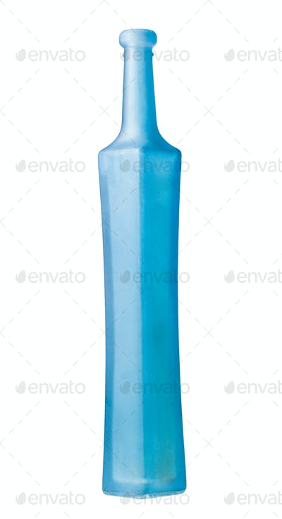 empty matte blue glass bottle isolated on white