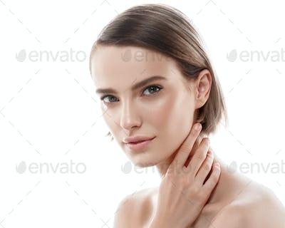 Young beautiful woman healthy perfect beauty skin and natural makeup