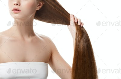 Woman neck shoulder lips nose long healthy hair