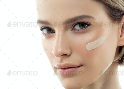 Beautiful woman portrait beauty skin healthy and perfect makeup Skin tone cream line  face.