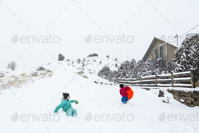 siblings sledding down hill