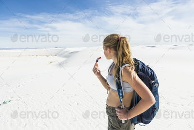 13 year old girl hiking in White Sands Nat'l Monument, NM