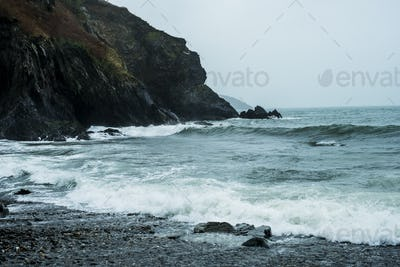 View along the rugged coastline of Pembrokeshire National Park, Wales, UK.