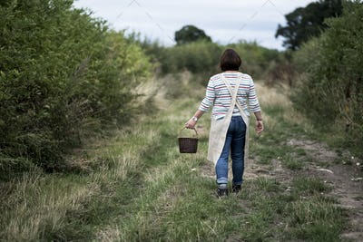 Rear view of woman walking along rural path, carrying brown wicker basket.